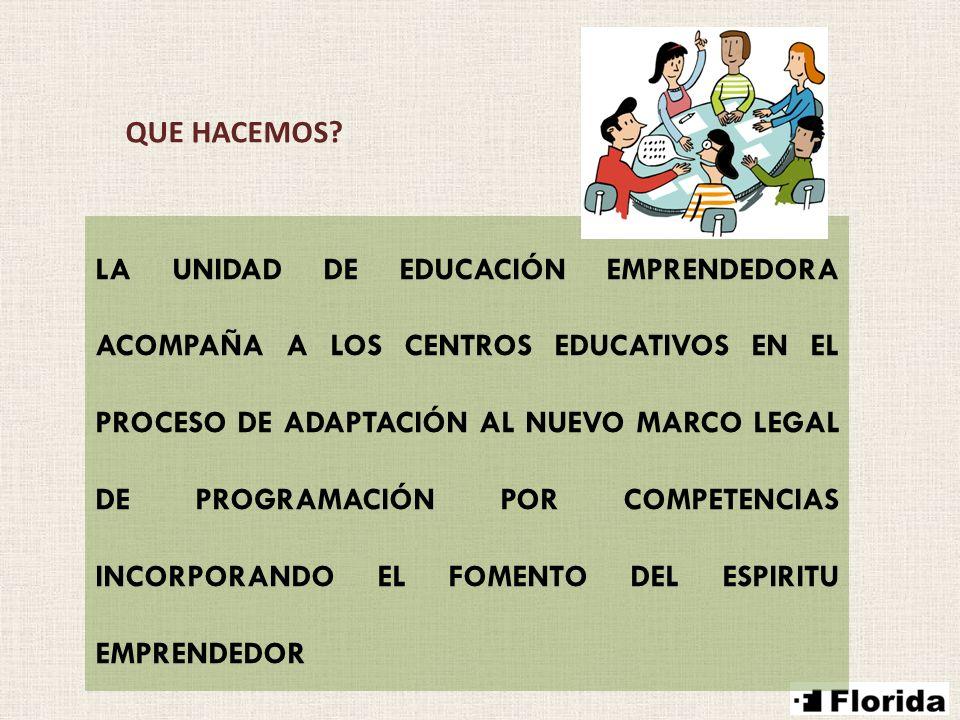QUE HACEMOS? LA UNIDAD DE EDUCACIÓN EMPRENDEDORA ACOMPAÑA A LOS CENTROS EDUCATIVOS EN EL PROCESO DE ADAPTACIÓN AL NUEVO MARCO LEGAL DE PROGRAMACIÓN PO