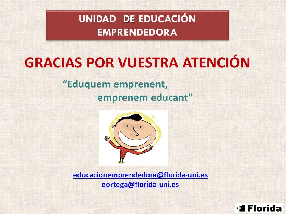 DE UNIDAD DE EDUCACIÓN EMPRENDEDORA Eduquem emprenent, emprenem educant educacionemprendedora@florida-uni.es eortega@florida-uni.es GRACIAS POR VUESTR