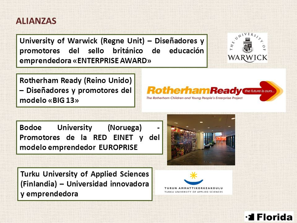 ALIANZAS University of Warwick (Regne Unit) – Diseñadores y promotores del sello británico de educación emprendedora «ENTERPRISE AWARD» Rotherham Ready (Reino Unido) – Diseñadores y promotores del modelo «BIG 13» Turku University of Applied Sciences (Finlandia) – Universidad innovadora y emprendedora Bodoe University (Noruega) - Promotores de la RED EINET y del modelo emprendedor EUROPRISE