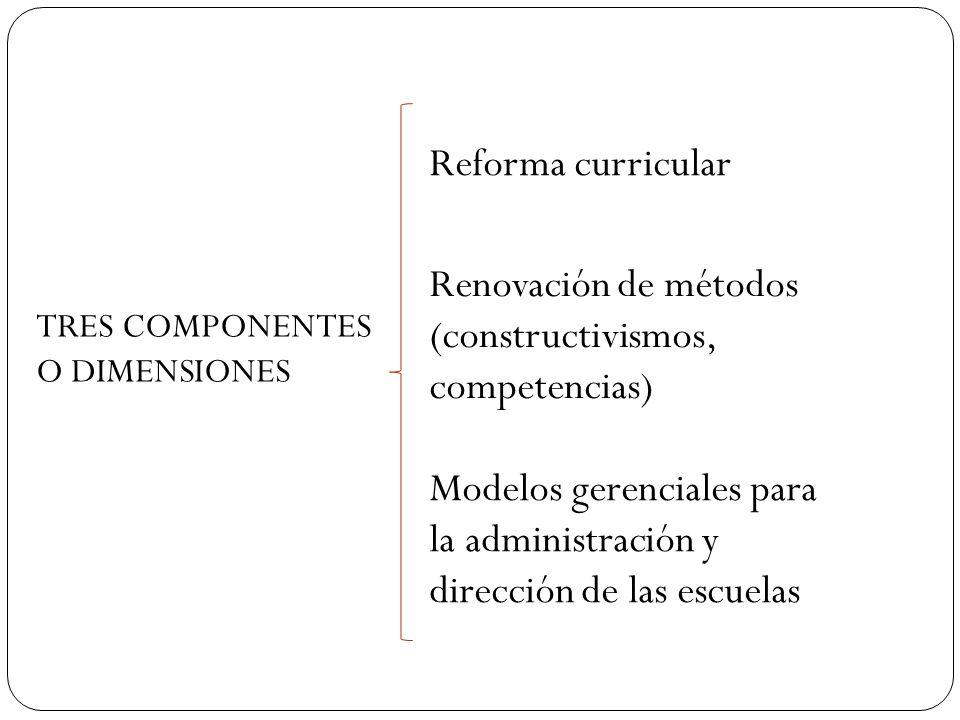 TRES COMPONENTES O DIMENSIONES Reforma curricular Modelos gerenciales para la administración y dirección de las escuelas Renovación de métodos (constr