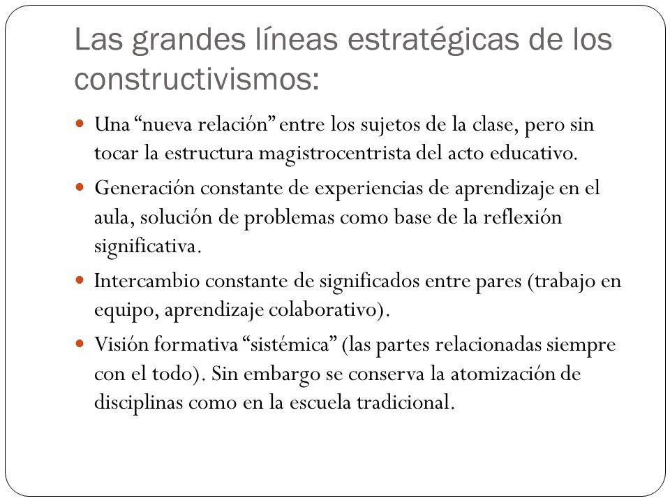 Las grandes líneas estratégicas de los constructivismos: Una nueva relación entre los sujetos de la clase, pero sin tocar la estructura magistrocentri