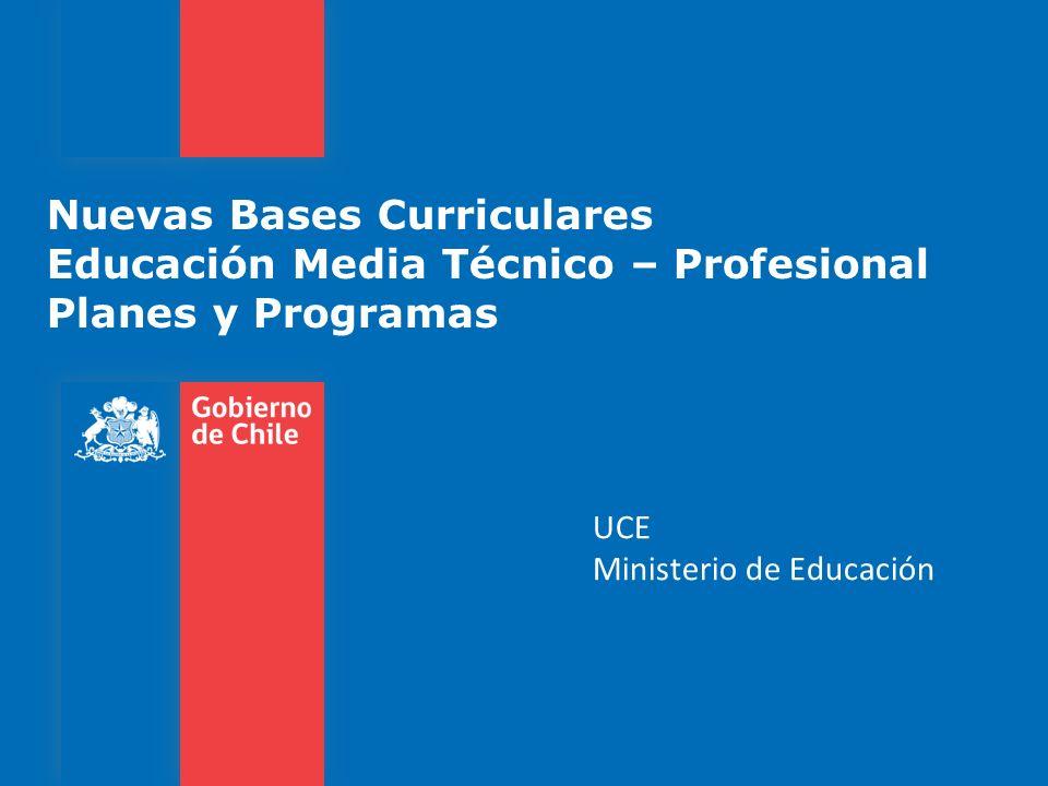 Nuevas Bases Curriculares Educación Media Técnico – Profesional Planes y Programas UCE Ministerio de Educación