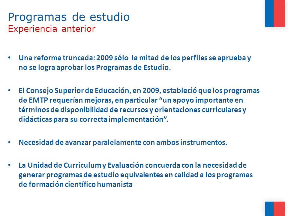 Programa de Estudios para la EMTP CRITERIO: FLEXIBILIDAD Propuesta Definen módulos (asignaturas) que integran aprendizajes teóricos y prácticos.