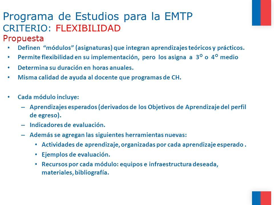 Programa de Estudios para la EMTP Propuesta (2) Cuatro módulos transversales a todas las especialidades, destinados a trabajar Objetivos de Aprendizaje Genéricos para EMTP.