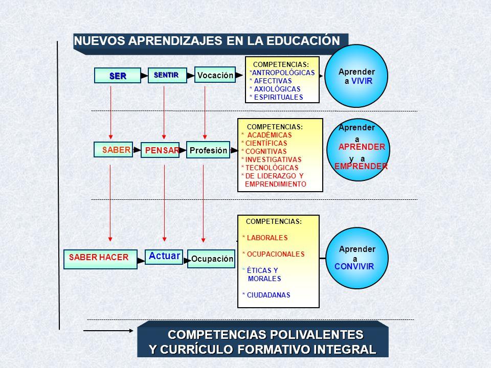 NUEVOS APRENDIZAJES EN LA EDUCACIÓN SER SENTIR Vocación Aprender a VIVIR SABER PENSAR Profesión COMPETENCIAS: * ACADÉMICAS * CIENTÍFICAS * COGNITIVAS