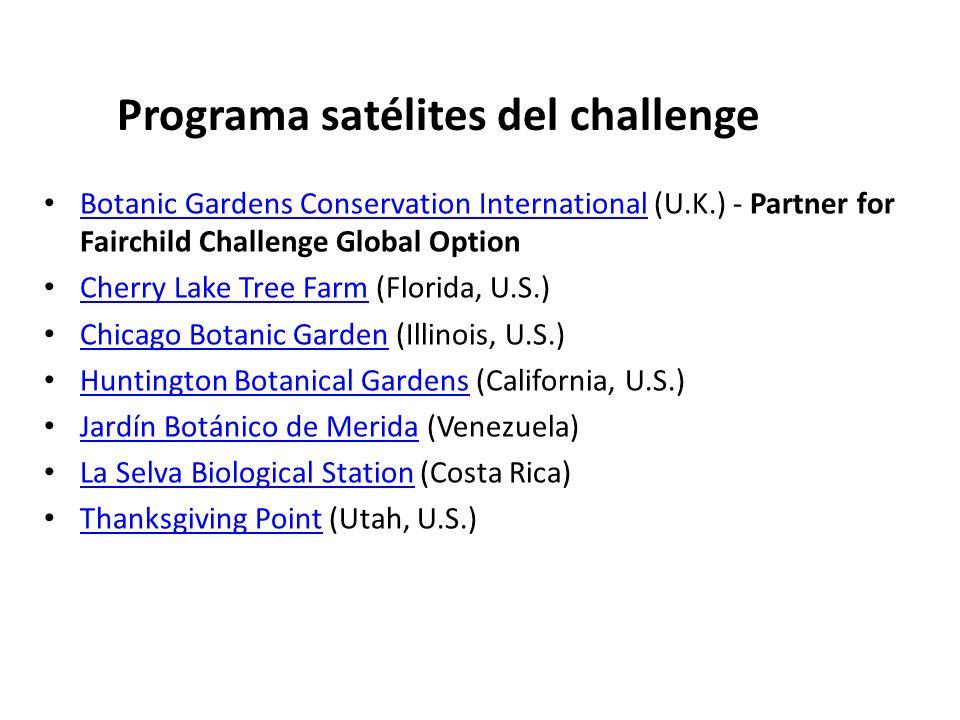 Programa satélites del challenge Botanic Gardens Conservation International (U.K.) - Partner for Fairchild Challenge Global Option Botanic Gardens Con