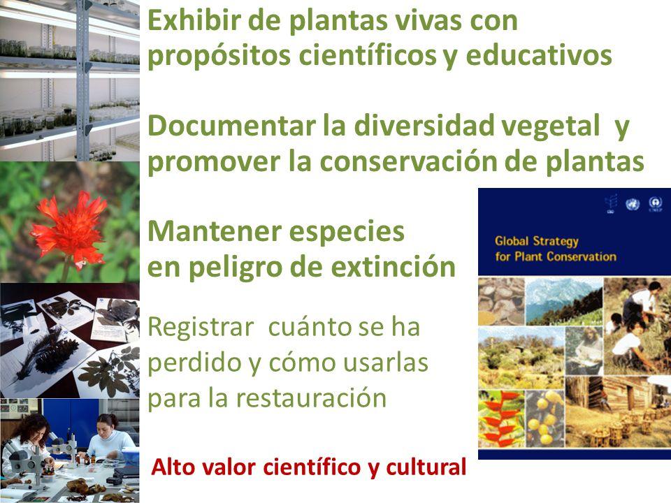Exhibir de plantas vivas con propósitos científicos y educativos Documentar la diversidad vegetal y promover la conservación de plantas Mantener espec