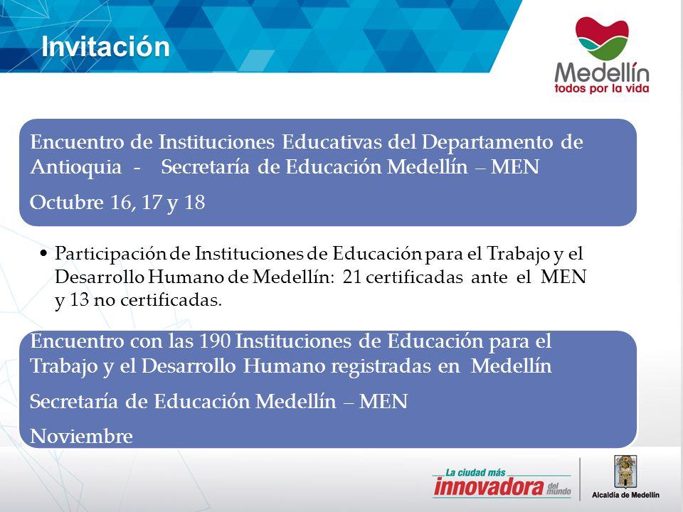 Invitación Encuentro de Instituciones Educativas del Departamento de Antioquia - Secretaría de Educación Medellín – MEN Octubre 16, 17 y 18 Participación de Instituciones de Educación para el Trabajo y el Desarrollo Humano de Medellín: 21 certificadas ante el MEN y 13 no certificadas.