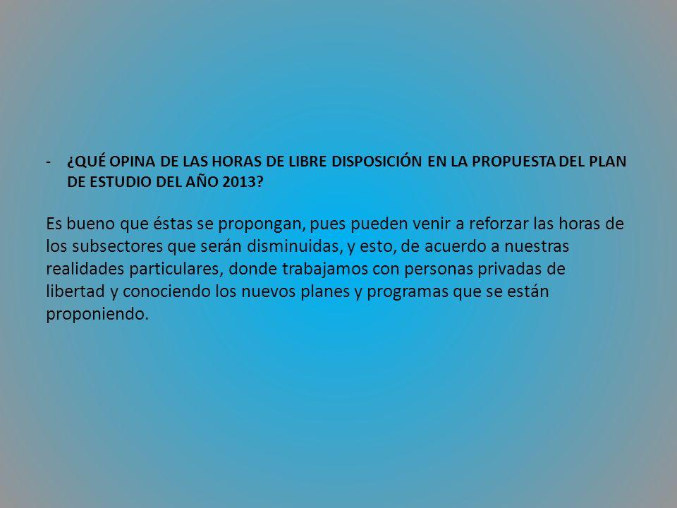 -¿QUÉ OPINA DE LAS HORAS DE LIBRE DISPOSICIÓN EN LA PROPUESTA DEL PLAN DE ESTUDIO DEL AÑO 2013.