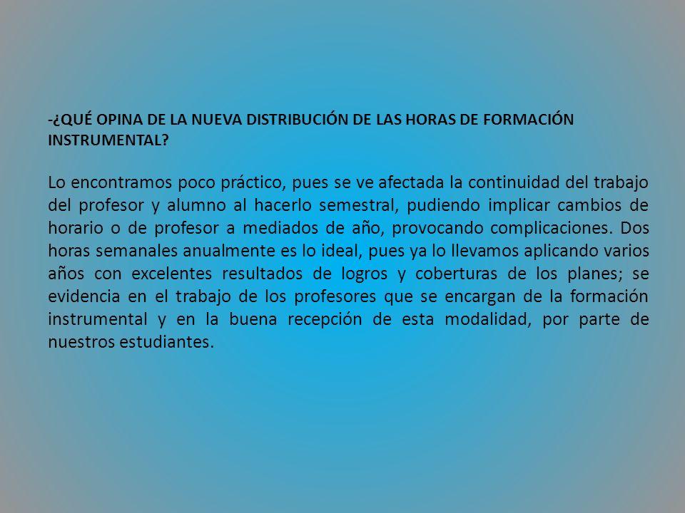 -¿QUÉ OPINA DE LA NUEVA DISTRIBUCIÓN DE LAS HORAS DE FORMACIÓN INSTRUMENTAL.