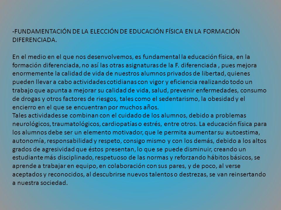 -FUNDAMENTACIÓN DE LA ELECCIÓN DE EDUCACIÓN FÍSICA EN LA FORMACIÓN DIFERENCIADA.