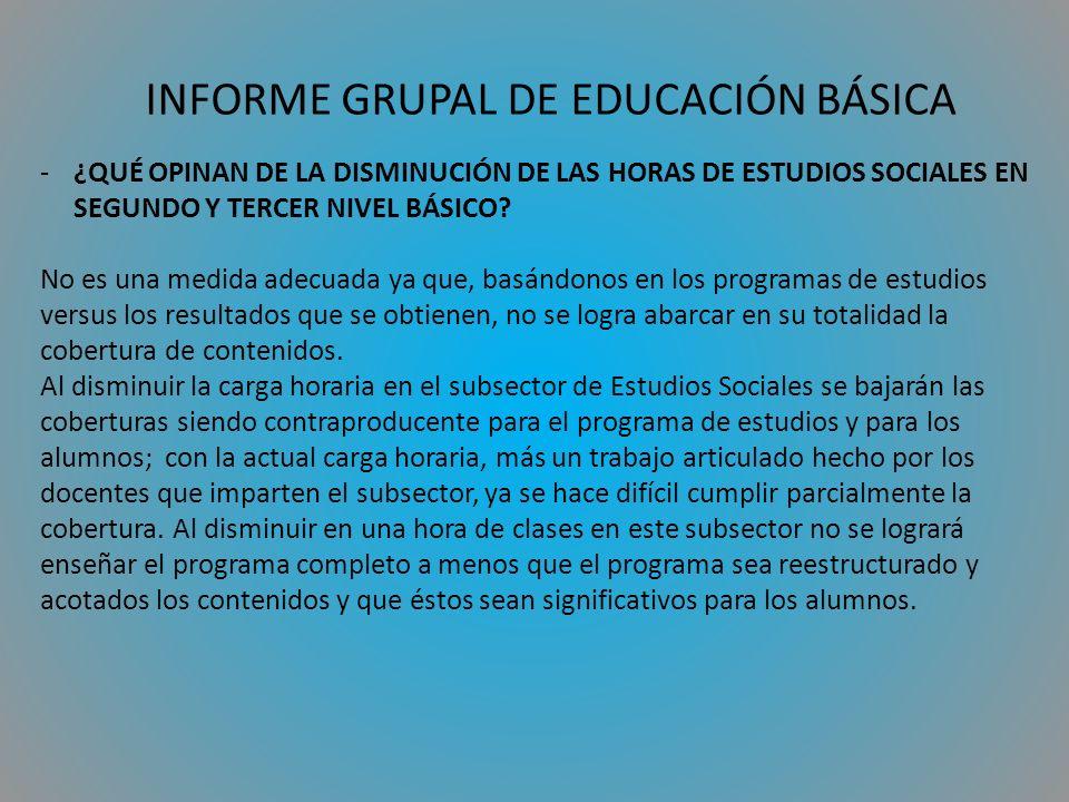 INFORME GRUPAL DE EDUCACIÓN BÁSICA -¿QUÉ OPINAN DE LA DISMINUCIÓN DE LAS HORAS DE ESTUDIOS SOCIALES EN SEGUNDO Y TERCER NIVEL BÁSICO.