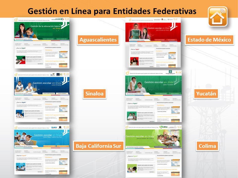 Aguascalientes Estado de México Sinaloa Yucatán Baja California Sur Colima Gestión en Línea para Entidades Federativas