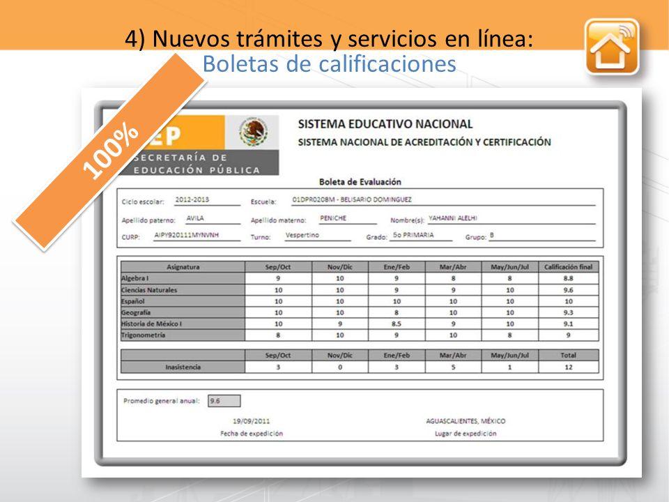 4) Nuevos trámites y servicios en línea: Boletas de calificaciones 100%