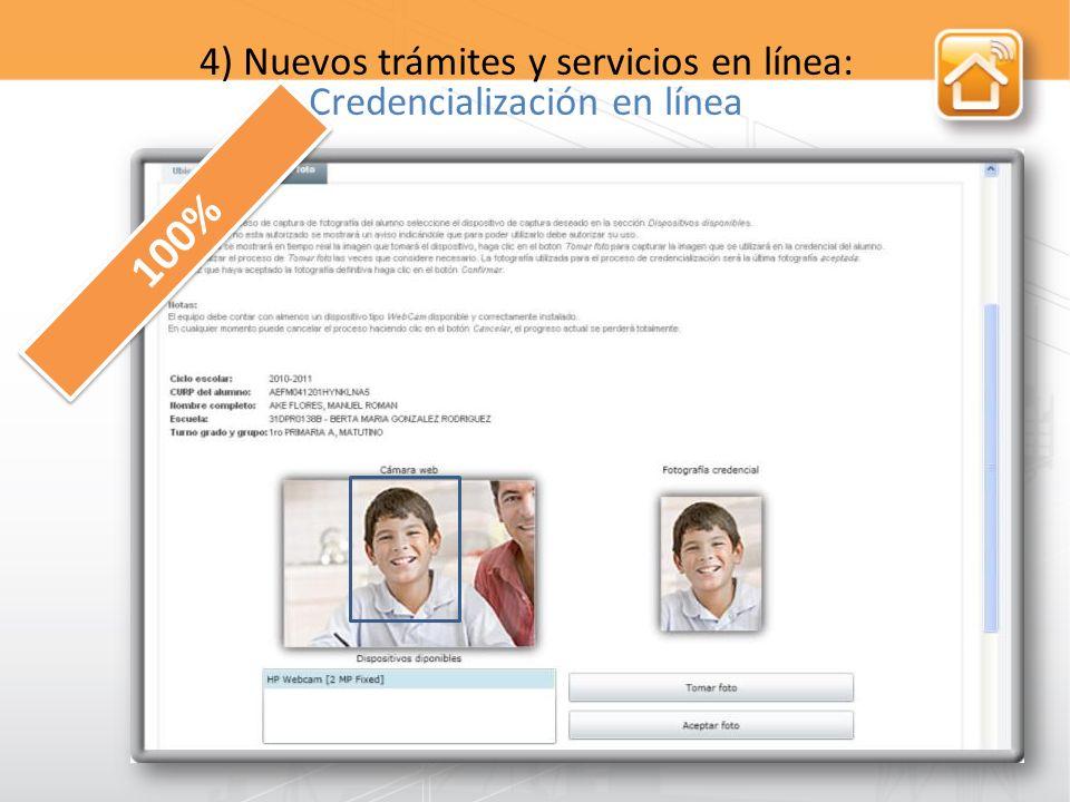 4) Nuevos trámites y servicios en línea: Credencialización en línea 100%