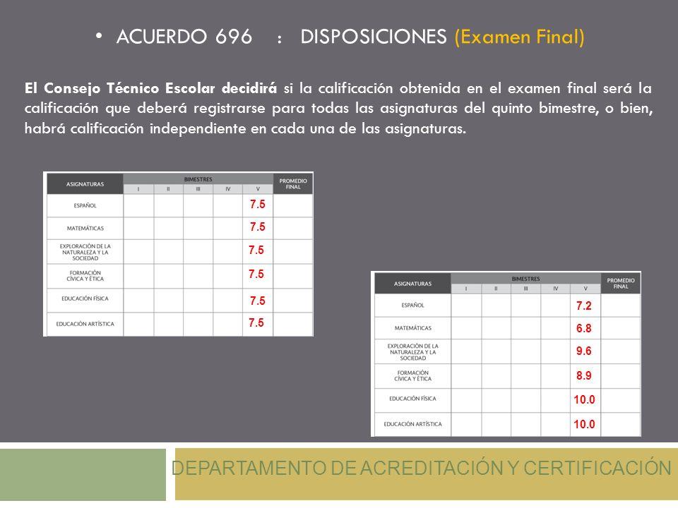 ACUERDO 696 : DISPOSICIONES (Examen Final) DEPARTAMENTO DE ACREDITACIÓN Y CERTIFICACIÓN El Consejo Técnico Escolar decidirá si la calificación obtenid