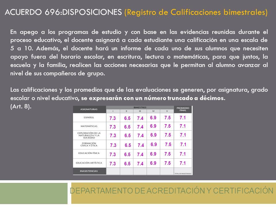 ACUERDO 696:DISPOSICIONES (Registro de Calificaciones bimestrales) DEPARTAMENTO DE ACREDITACIÓN Y CERTIFICACIÓN En apego a los programas de estudio y
