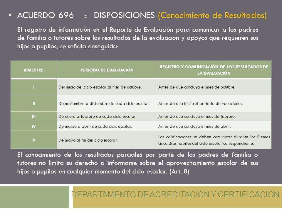 ACUERDO 696 : DISPOSICIONES (Conocimiento de Resultados) DEPARTAMENTO DE ACREDITACIÓN Y CERTIFICACIÓN El registro de información en el Reporte de Eval