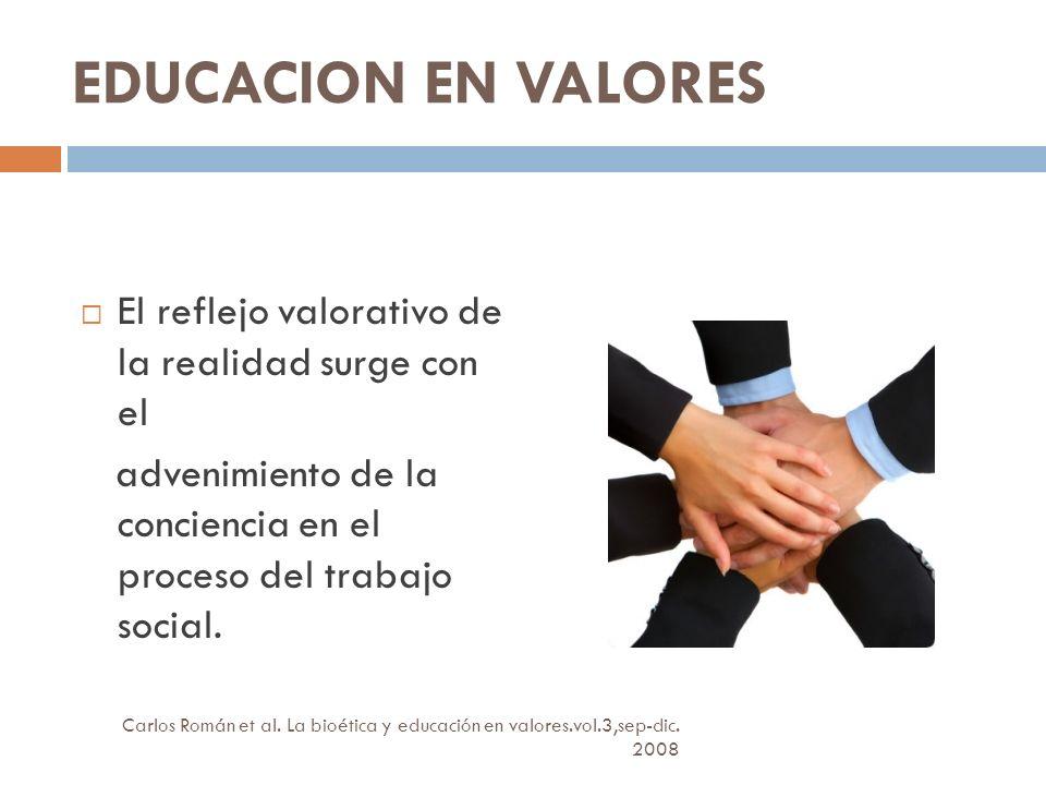 EDUCACION EN VALORES El reflejo valorativo de la realidad surge con el advenimiento de la conciencia en el proceso del trabajo social.