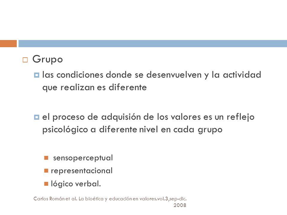 Grupo las condiciones donde se desenvuelven y la actividad que realizan es diferente el proceso de adquisión de los valores es un reflejo psicológico a diferente nivel en cada grupo sensoperceptual representacional lógico verbal.
