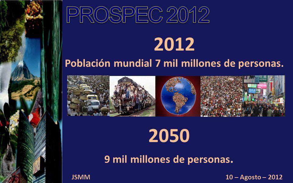 2050 9 mil millones de personas. JSMM10 – Agosto – 2012 2012 Población mundial 7 mil millones de personas.