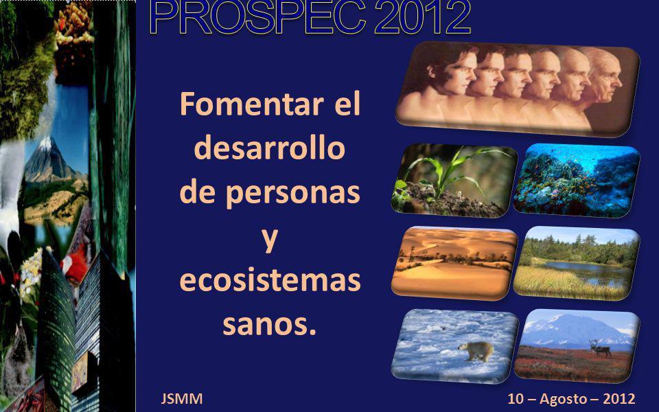 JSMM10 – Agosto – 2012 Fomentar el desarrollo de personas y ecosistemas sanos.