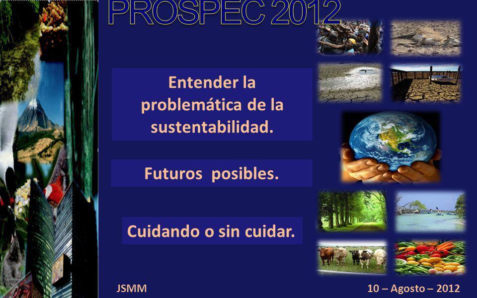 JSMM10 – Agosto – 2012 Entender la problemática de la sustentabilidad.