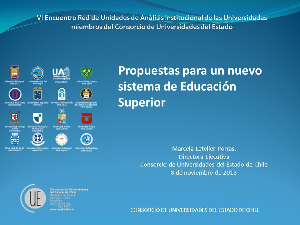 Propuestas para un nuevo sistema de Educación Superior CONSORCIO DE UNIVERSIDADES DEL ESTADO DE CHILE VI Encuentro Red de Unidades de Análisis Institu
