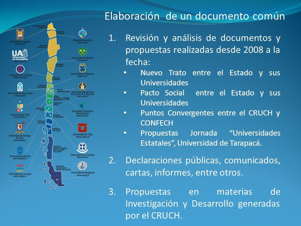 1.Revisión y análisis de documentos y propuestas realizadas desde 2008 a la fecha: Nuevo Trato entre el Estado y sus Universidades Pacto Social entre