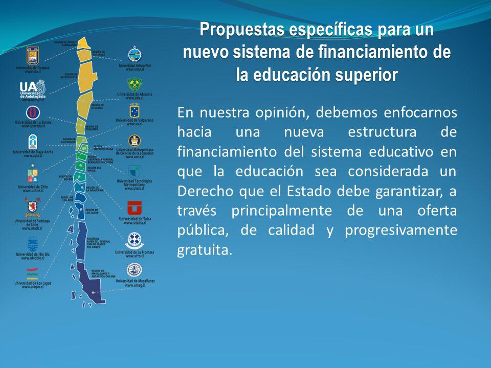 En nuestra opinión, debemos enfocarnos hacia una nueva estructura de financiamiento del sistema educativo en que la educación sea considerada un Derec