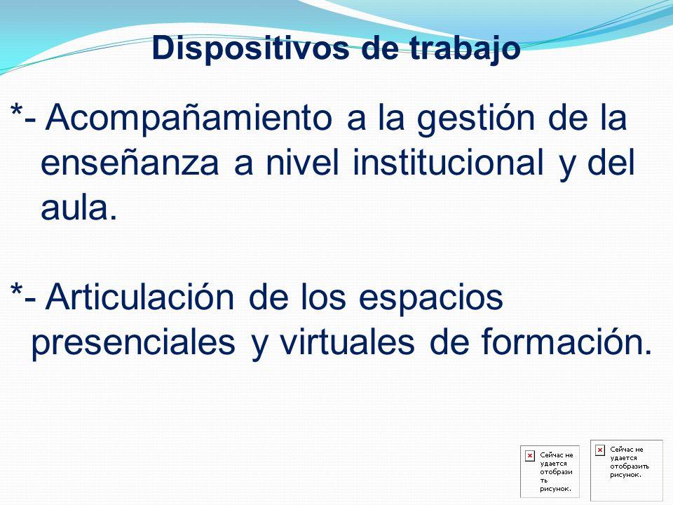 Dispositivos de trabajo *- Acompañamiento a la gestión de la enseñanza a nivel institucional y del aula. *- Articulación de los espacios presenciales
