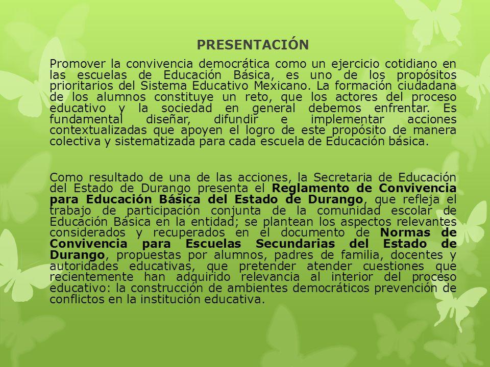 PRESENTACIÓN Promover la convivencia democrática como un ejercicio cotidiano en las escuelas de Educación Básica, es uno de los propósitos prioritarios del Sistema Educativo Mexicano.