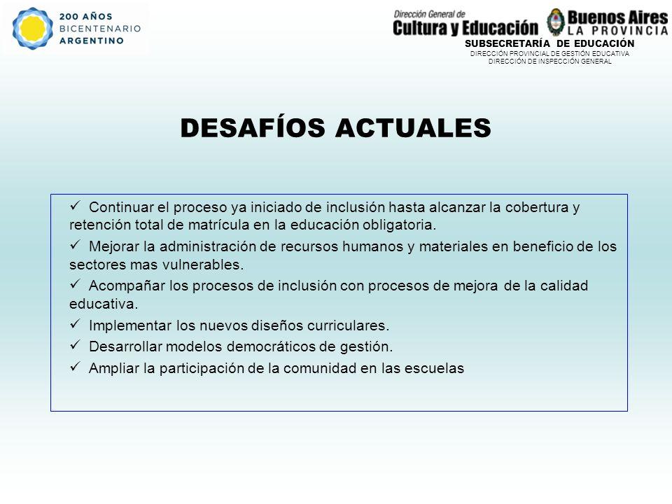 SUBSECRETARÍA DE EDUCACIÓN DIRECCIÓN PROVINCIAL DE GESTIÓN EDUCATIVA DIRECCIÓN DE INSPECCIÓN GENERAL DESAFÍOS ACTUALES Continuar el proceso ya iniciado de inclusión hasta alcanzar la cobertura y retención total de matrícula en la educación obligatoria.