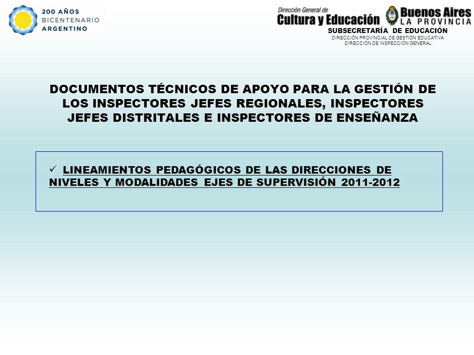 SUBSECRETARÍA DE EDUCACIÓN DIRECCIÓN PROVINCIAL DE GESTIÓN EDUCATIVA DIRECCIÓN DE INSPECCIÓN GENERAL DOCUMENTOS TÉCNICOS DE APOYO PARA LA GESTIÓN DE LOS INSPECTORES JEFES REGIONALES, INSPECTORES JEFES DISTRITALES E INSPECTORES DE ENSEÑANZA LINEAMIENTOS PEDAGÓGICOS DE LAS DIRECCIONES DE NIVELES Y MODALIDADES EJES DE SUPERVISIÓN 2011-2012