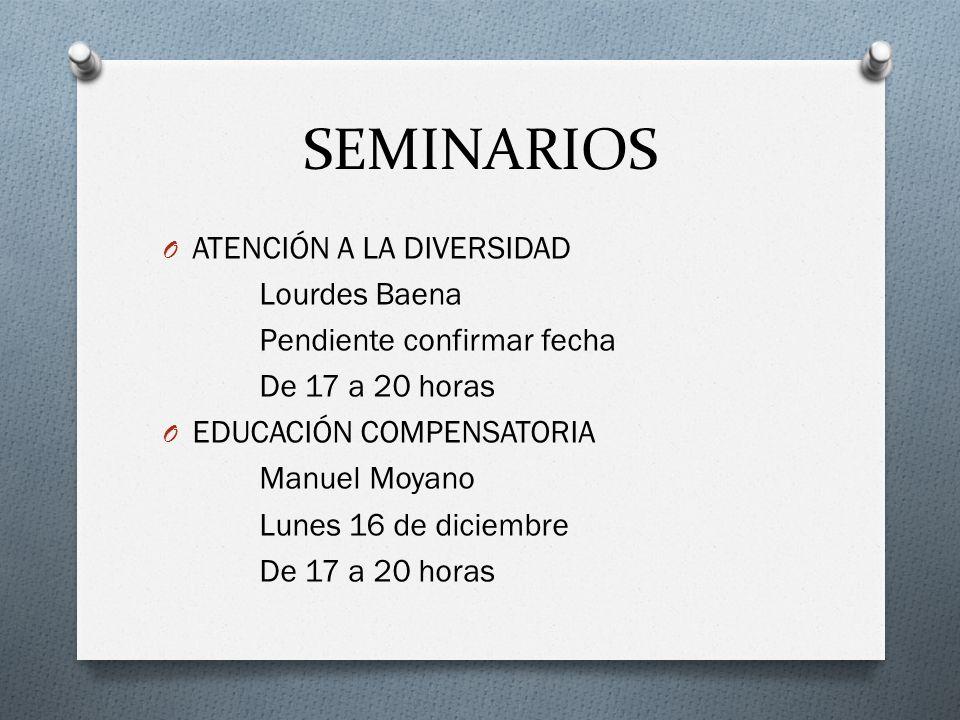 SEMINARIOS O ATENCIÓN A LA DIVERSIDAD Lourdes Baena Pendiente confirmar fecha De 17 a 20 horas O EDUCACIÓN COMPENSATORIA Manuel Moyano Lunes 16 de dic