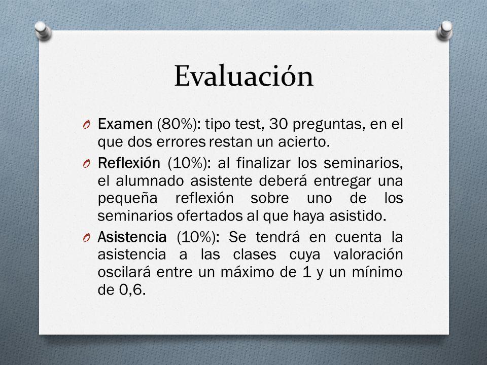 Evaluación O Examen (80%): tipo test, 30 preguntas, en el que dos errores restan un acierto. O Reflexión (10%): al finalizar los seminarios, el alumna
