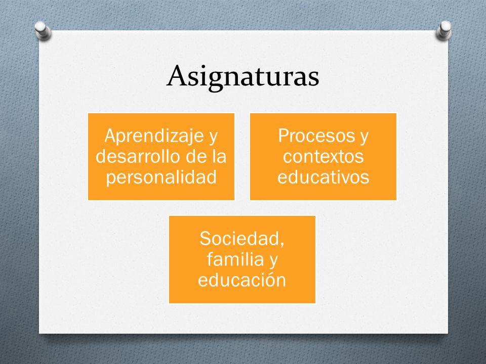 Asignaturas Aprendizaje y desarrollo de la personalidad Procesos y contextos educativos Sociedad, familia y educación
