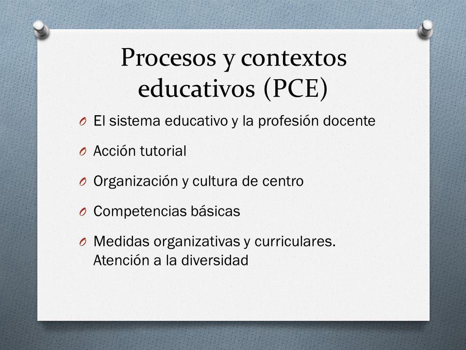 Procesos y contextos educativos (PCE) O El sistema educativo y la profesión docente O Acción tutorial O Organización y cultura de centro O Competencia