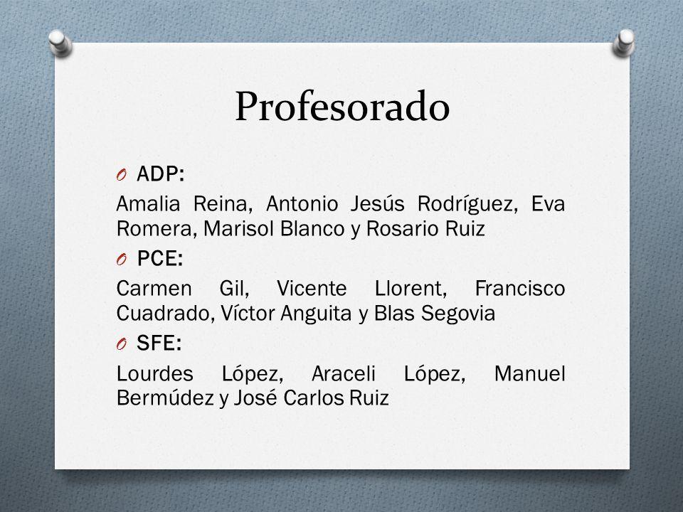 Profesorado O ADP: Amalia Reina, Antonio Jesús Rodríguez, Eva Romera, Marisol Blanco y Rosario Ruiz O PCE: Carmen Gil, Vicente Llorent, Francisco Cuad