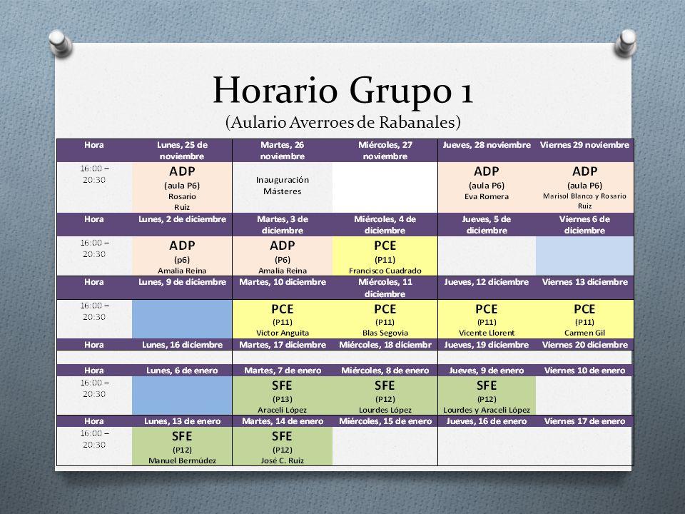 Horario Grupo 1 (Aulario Averroes de Rabanales)