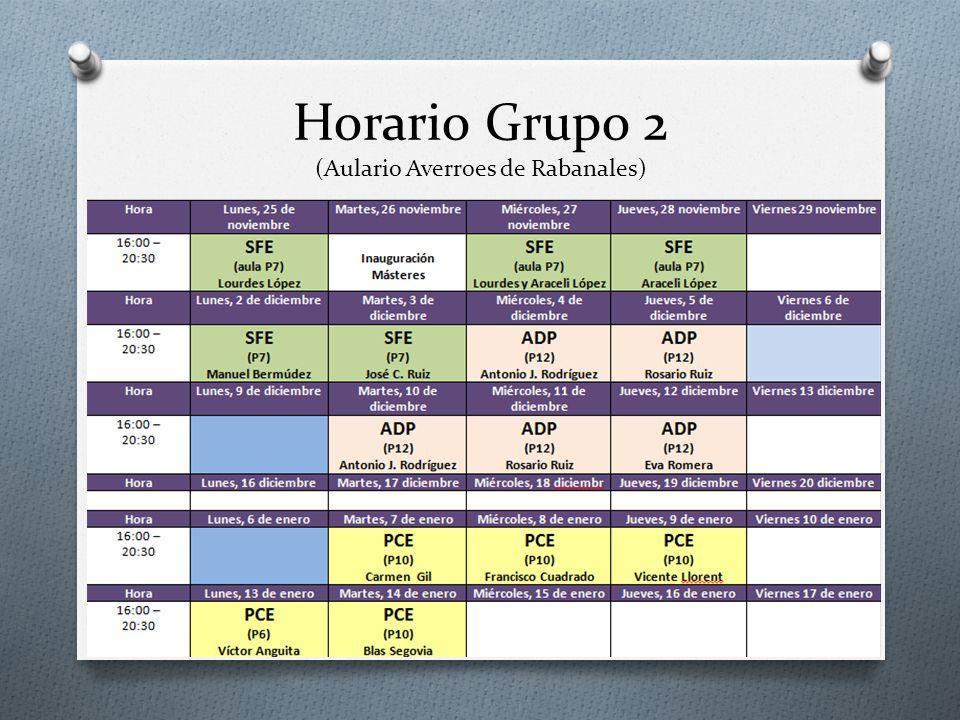 Horario Grupo 2 (Aulario Averroes de Rabanales)