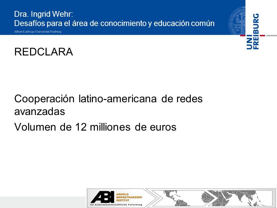 Dra. Ingrid Wehr: Desafíos para el área de conocimiento y educación común REDCLARA Cooperación latino-americana de redes avanzadas Volumen de 12 milli