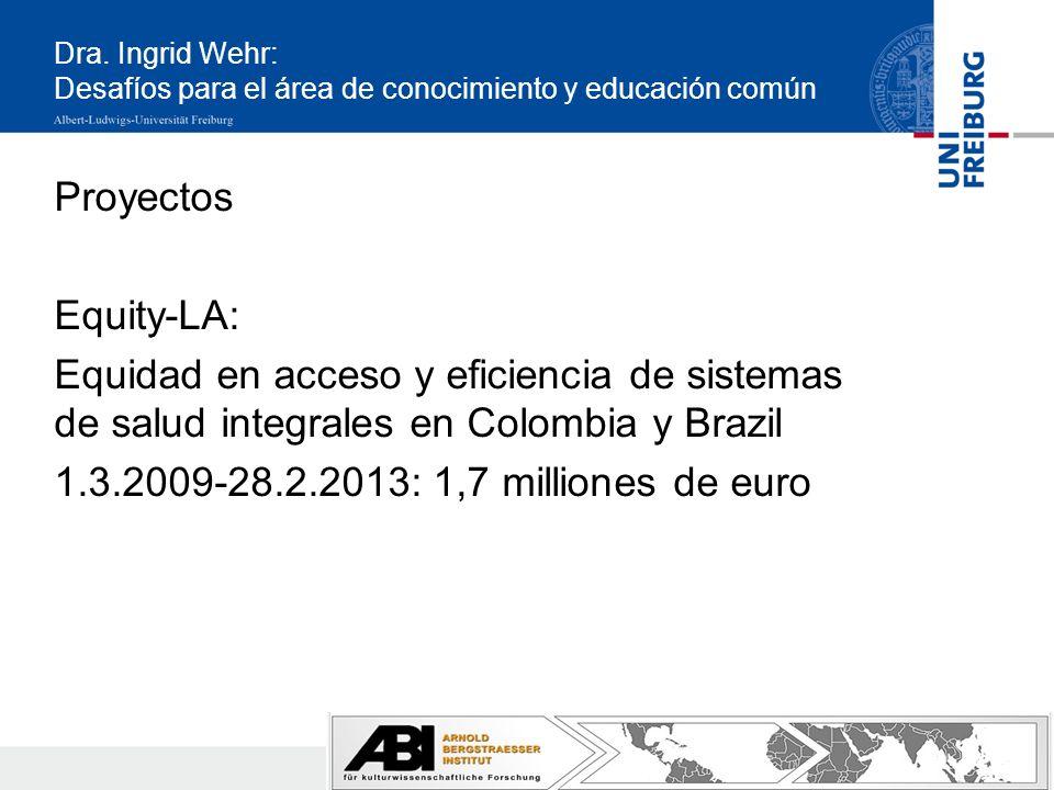 Dra. Ingrid Wehr: Desafíos para el área de conocimiento y educación común Proyectos Equity-LA: Equidad en acceso y eficiencia de sistemas de salud int