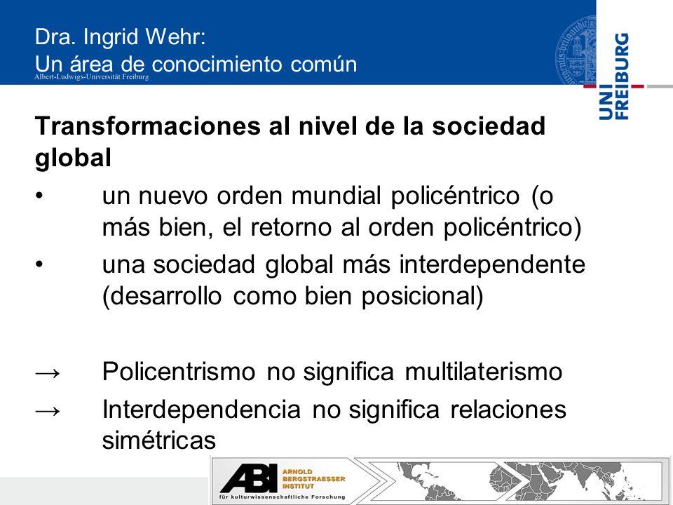 Dra. Ingrid Wehr: Un área de conocimiento común Transformaciones al nivel de la sociedad global un nuevo orden mundial policéntrico (o más bien, el re