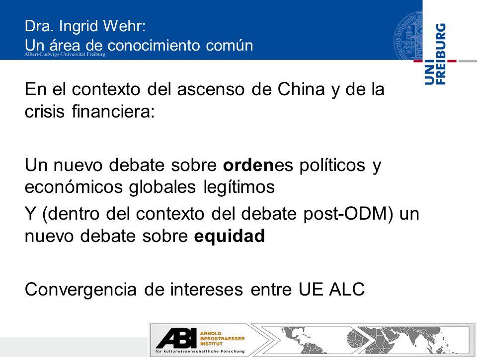 Dra. Ingrid Wehr: Un área de conocimiento común En el contexto del ascenso de China y de la crisis financiera: Un nuevo debate sobre ordenes políticos