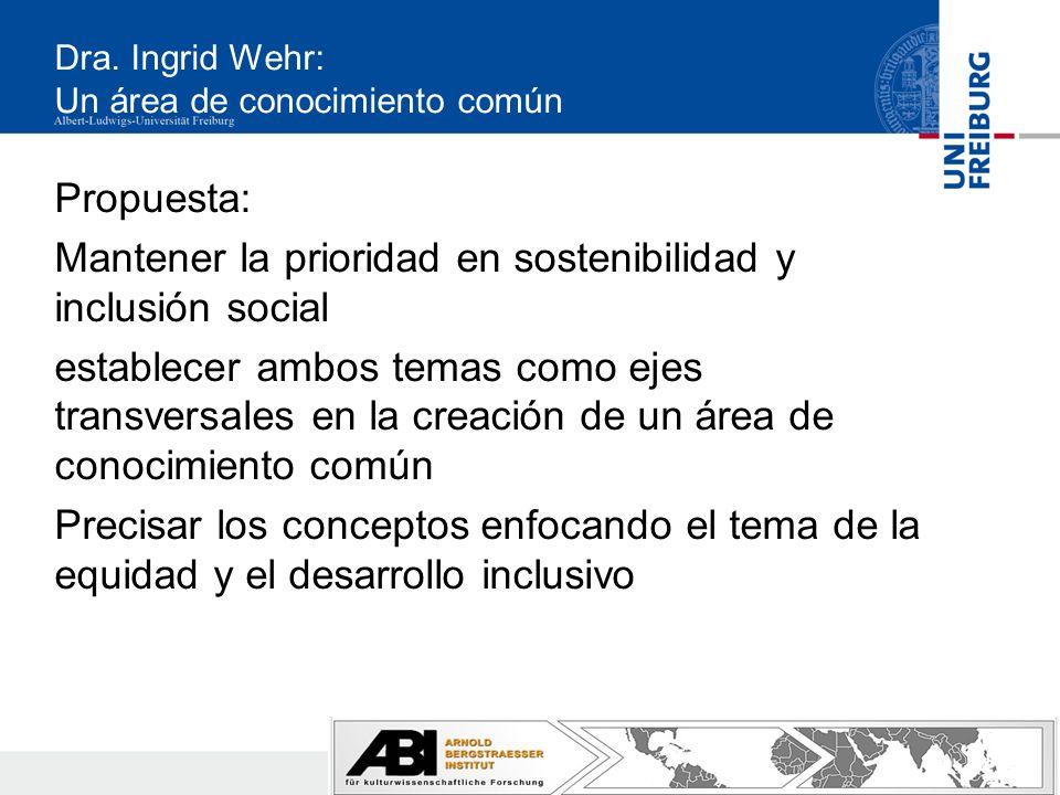 Dra. Ingrid Wehr: Un área de conocimiento común Propuesta: Mantener la prioridad en sostenibilidad y inclusión social establecer ambos temas como ejes