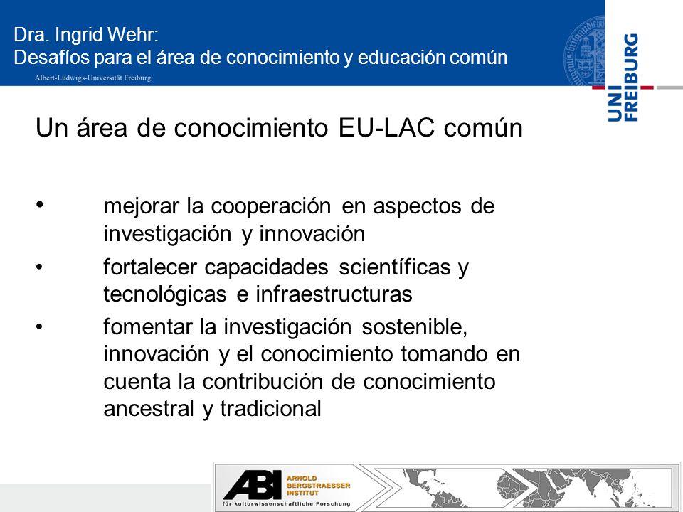 Dra. Ingrid Wehr: Desafíos para el área de conocimiento y educación común Un área de conocimiento EU-LAC común mejorar la cooperación en aspectos de i
