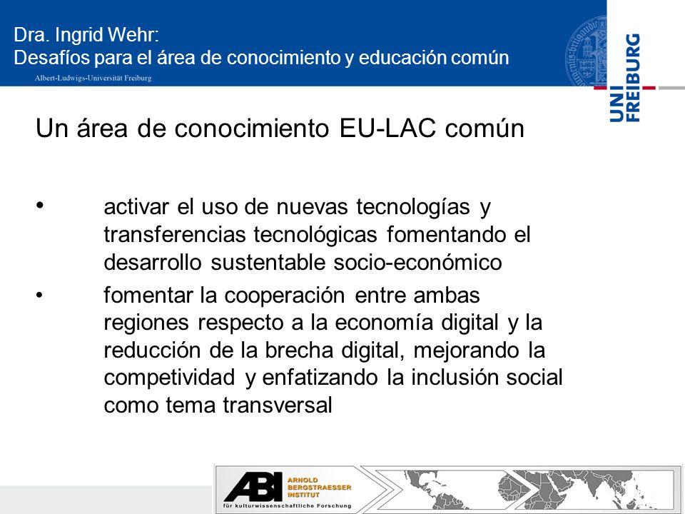 Dra. Ingrid Wehr: Desafíos para el área de conocimiento y educación común Un área de conocimiento EU-LAC común activar el uso de nuevas tecnologías y