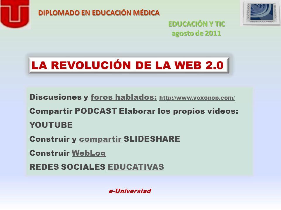 DIPLOMADO EN EDUCACIÓN MÉDICA LA REVOLUCIÓN DE LA WEB 2.0 Discusiones y foros hablados: http://www.voxopop.com/foros hablados: http://www.voxopop.com/