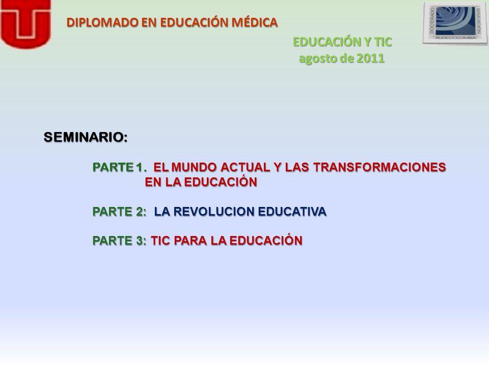DIPLOMADO EN EDUCACIÓN MÉDICA SEMINARIO: PARTE 1. EL MUNDO ACTUAL Y LAS TRANSFORMACIONES EN LA EDUCACIÓN EN LA EDUCACIÓN PARTE 2: LA REVOLUCION EDUCAT